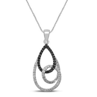 Unending Love 10k White Gold 1/3ct TDW White and Treated Black Diamond Fashion Pendant (H-I, I1-I2)