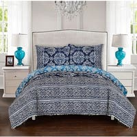 LUX-BED 3-Piece Peridot Navy Duvet Cover Set