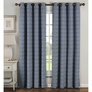 Window Elements Greek Key Polyester and Cotton 84-inch Extra-wide Grommet Curtain Panels (Set of 2) - 54 x 84 (5 options available)