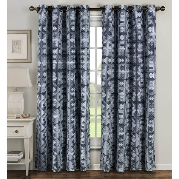 Window Elements Greek Key Polyester And Cotton 84 Inch Extra Wide Grommet Curtain Panels