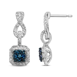 Unending Love Sterling Silver 1/2ct TDW Treated Blue Diamond Dangle Fashion Earrings (H-I, I1-I2)