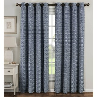 Window Elements Greek Key 96-inch Grommet Curtain Panel Pair