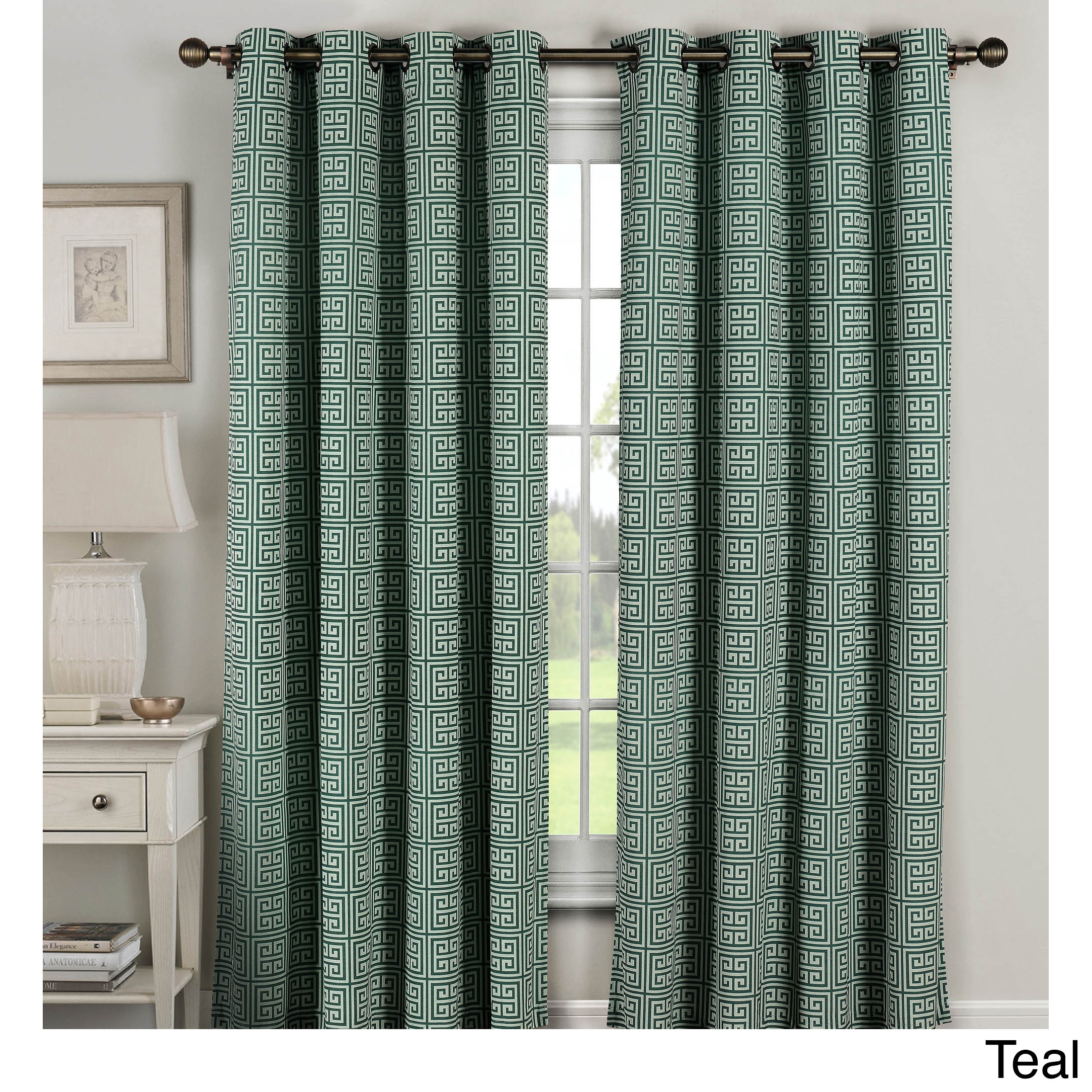Window Elements Greek Key 96 Inch Grommet Curtain
