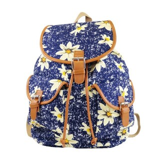 Hearty Trendy Floral Print Cotton Canvas Backpack