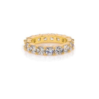 Eternally Haute 14k Gold-plated 10-carat Cushion-cut Eternity Ring
