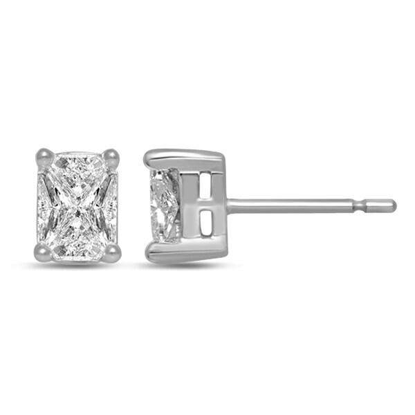 a2cf1d6a3 Unending Love 14k White Gold 3/4ct TDW Emerald-cut Diamond Stud Fashion  Earrings