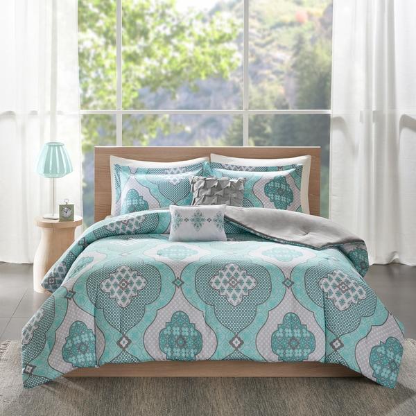 Intelligent Design Vivian Aqua Printed 5-piece Comforter Set