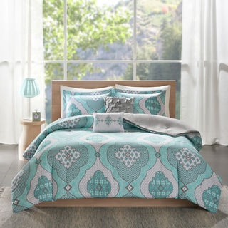 Intelligent Design Vivian Aqua Printed 5-piece Comforter Set