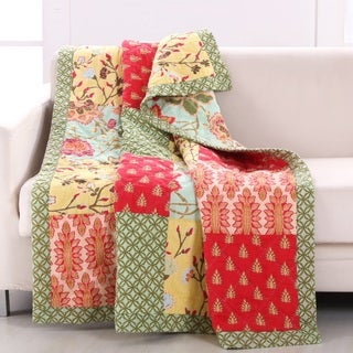 Barefoot Bungalow Eva Honeydew Reversible Quilted Throw