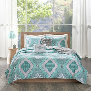 Intelligent Design Vivian Aqua Printed 5-piece Coverlet Set