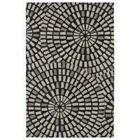 Hand-Tufted Lola Mosaic Black Cobblestone Wool Rug - 5' x 7'9