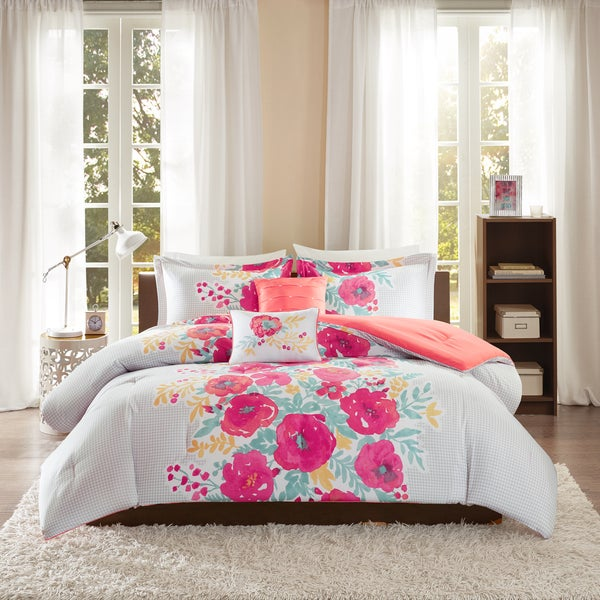 Intelligent Design Mina Coral Printed 5-piece Comforter Set
