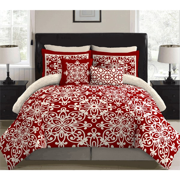shop stylenest scarleta red bed in a bag bedding set on sale free shipping today overstock. Black Bedroom Furniture Sets. Home Design Ideas