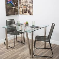 MIX 42-inch Brushed Stainless Steel Hairpin Legs Tempered Glass Square Dining Table