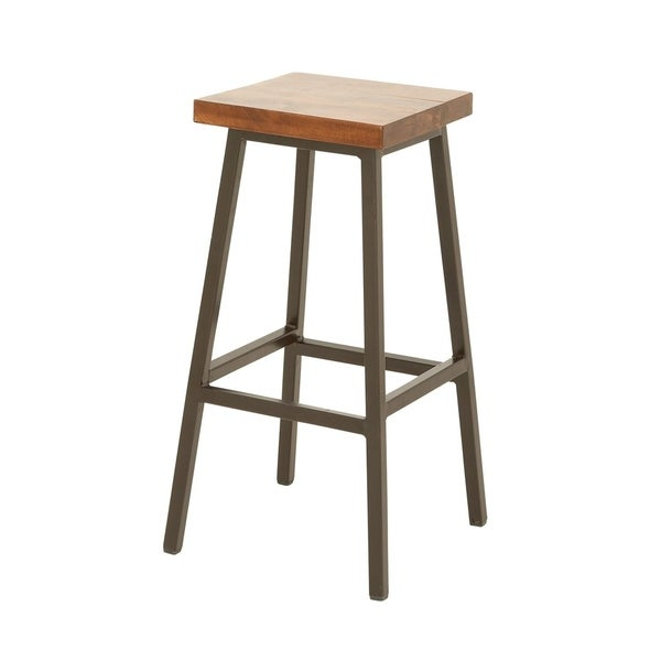 Studio 350 Metal Wood Stool 16 Inches Wide 30 High