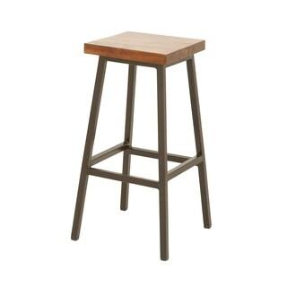 Benzara Metal and Wood Square Seat Stool