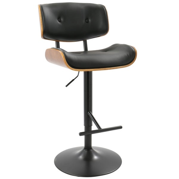 lumisource lombardi wood and chrome midcentury modern adjustable bar stool
