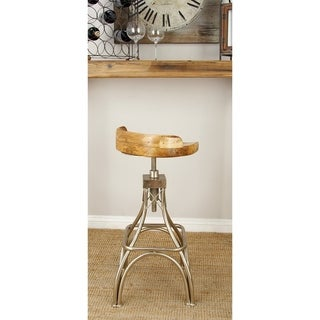 Benzara Metal and Wood 16-inch Wide x 32-inch High Stool