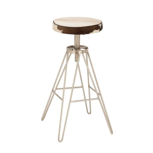 Shop Contemporary 31 X 16 Inch Black Metal And Leather Stool By Studio 350 On Sale