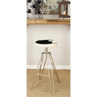 Benzara Black Leather Hide and Metal 16-inch Wide x 31-inch High Stool