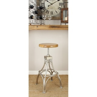 Benzara Brown/Silver Wood/Metal 16-inches Wide x 32-inches High Stool
