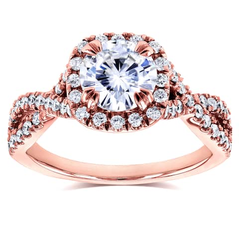Annello by Kobelli 14k Rose Gold 1ct DEF Moissanite and 1/2ct TDW Diamond Crossover Ring (GH, I1-I2)