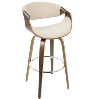 LumiSource Curvini Walnut Wood 30-inch Mid-century Modern Barstool