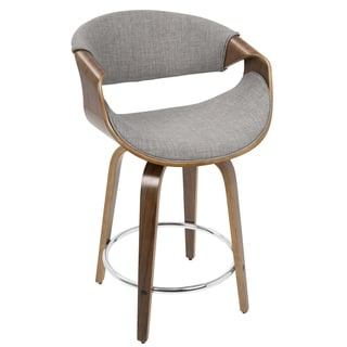 LumiSource Curvini Walnut Wood and Fabric 24-inch Mid-century Modern Counter Stool