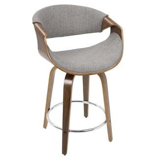 LumiSource Curvini Walnut Wood and Fabric 24-inch Mid-century Modern Counter Stool