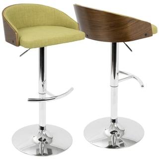 LumiSource Shiraz Wood and Chrome Mid-century Modern Adjustable Barstool