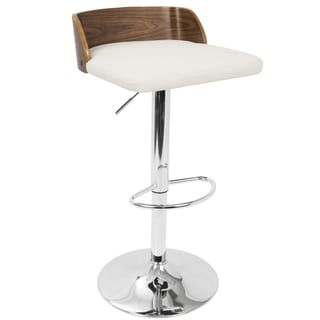 LumiSource Maya Walnut-finish Wood and Chrome Mid-century Modern Adjustable Barstool