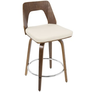 LumiSource Trilogy Walnut-finish Wood and Chrome 24-inch Mid-century Modern Counter Stool
