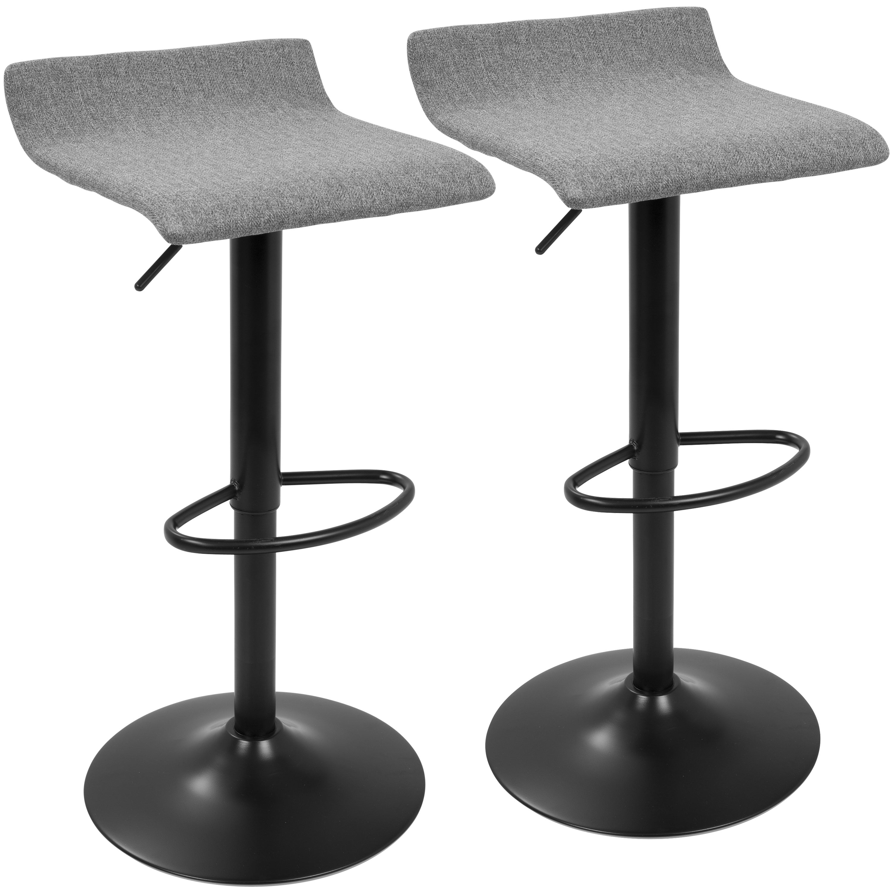 Ale XL Contemporary Adjustable Barstool (Set of 2) (Ale XL Barstool in Black and Grey)