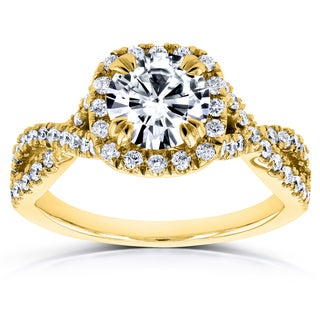Annello by Kobelli 14k Yellow Gold 1ct DEF Moissanite and 1/2ct TDW Diamond Crossover Ring (GH, I1-I2)