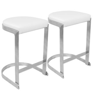 LumiSource Demi White/Grey Metal/Fabric Contemporary Backless Counter Stools (Set of 2)