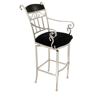 Pacifica Black Suede and Stainless Steel Swivel Barstool