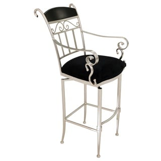 Pacifica Swivel Stainless Steel and Suede Barstool