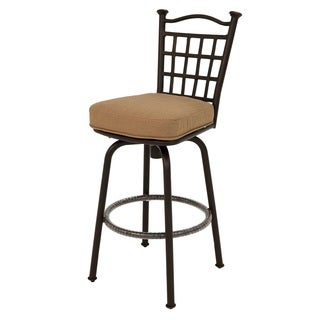 Bay Point Linen and Autumn Rust Aluminum Outdoor Bar Stool