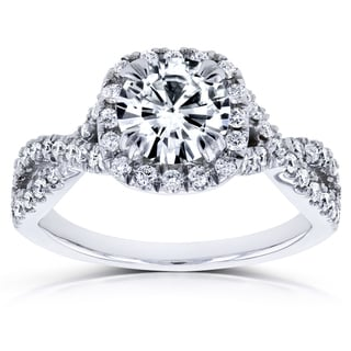 Annello by Kobelli 14k White Gold 1ct DEF Moissanite and 1/2ct TDW Diamond Crossover Ring (GH, I1-I2)