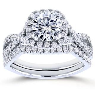 Annello by Kobelli 14k White Gold 1ct Forever One DEF Moissanite and 3/4ct TDW Diamond Criss Cross Bridal Set (GH, I1-I2)
