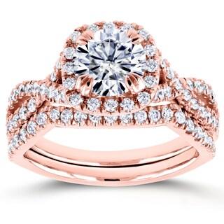 Annello by Kobelli 14k Rose Gold 1ct Forever One DEF Moissanite and 3/4ct TDW Diamond Criss Cross Bridal Set (GH, I1-I2)