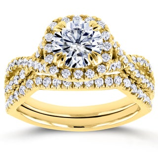 Annello by Kobelli 14k Yellow Gold 1ct Forever One DEF Moissanite and 3/4ct TDW Diamond Criss Cross Bridal Set (GH, I1-I2)