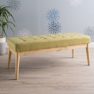Saxon Mid-Century Tufted Fabric Ottoman Bench by Christopher Knight Home