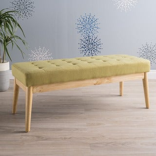 Carson Carrington Lund Saxon Mid-century Tufted Fabric Ottoman Bench