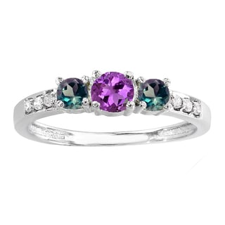 18k Gold 1/2ct TGW Amethyst, Alexandrite and Diamond Accent Ring (I-J, I2-I3)