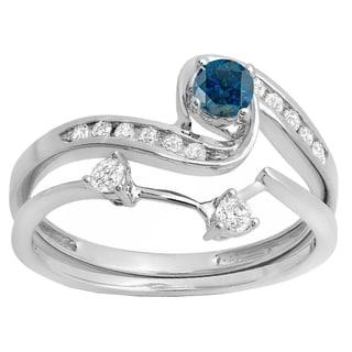 14k Gold 1/2ct TDW Round Blue and White Diamond Swirl Bridal Ring Set