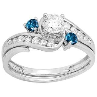 14k Gold 7/8ct TDW Blue and White Diamond Swirl Bridal Band Set (I-J, I1-I2)