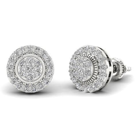 IGI Certified Sterling Silver 1/2ct Diamond Cluster Stud Earrings