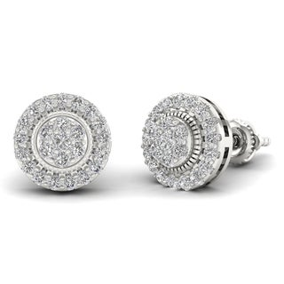 Sterling Silver 1/2ct Diamond Cluster Stud Earrings