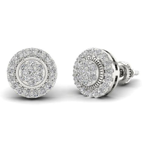 IGI Certified Sterling Silver 1/2ct Diamond Cluster Stud Earrings